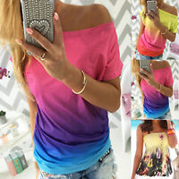 Women Ombre T-shirt Off Shoulder Loose Tee Ladies Casual Beach Shirt Blouse Tops