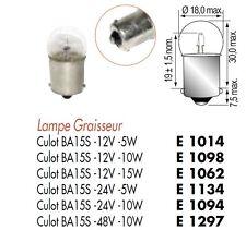 LOT 10 LAMPE AMPOULE GRAISSEUR POIRETTE 48V 48 Volts 10W  Culot BA15S 1 Contact