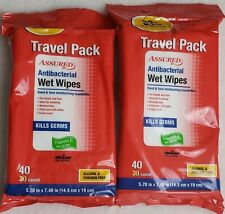2 Pack - Assured Wet Wipes Travel Pack for Face & Hand  40 count in Pack .