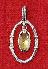 JUDITH RIPKA TWO JUBILEE 18K STERLING CANARY DIAMOND PENDANT JR TWO 18K 925 U