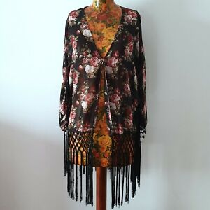 ALLY - Size M/L ladies sheer black floral rose fringed kimono cape cardigan