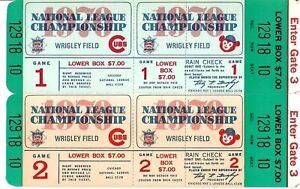 1970 Chicago Cubs Phantom Championship Series Tickets Block of 2 NRMT