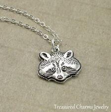 Silver Raccoon Charm Necklace - Critter Wildlife Wild Animal Pendant Jewelry NEW
