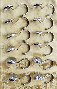 Shower Curtain Hooks - Drapery Hooks - Silver - Brushed Chrome - Set of 12
