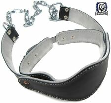 TOP GYM NECK Harness Black Leather Neck Dipping Belt Gym Fitness Neck Muscle Bui