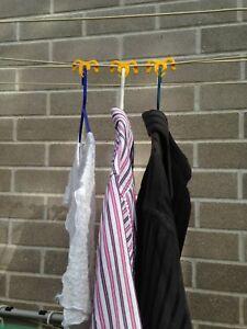 NEW Clothesline Cord Coat Hanger Clip | Clothes Shirt Drying Hanger Hook Peg
