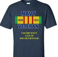 USS TRUXTUN  CGN-35 * NAVY VIETNAM CAMPAIGN RIBBON & SILKSCREEN  SHIRT/SWEAT
