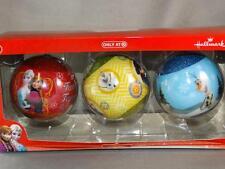 New Hallmark Disney Frozen Elsa Anna Olaf Set of 3 Ball Christmas Ornaments