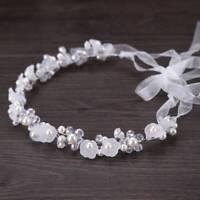 Adjustable Flower Crown Flower Headband Pearls Head Wreath Hair Accessories