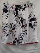 QUIKSILVER sz 36 MEN'S WHITE w/ BLACK & RED HAWAIIAN STYLE BOARD SHORTS   (#S17)