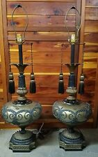 VTG Pair Hollywood Regency Table Lamps Retro Mid Century Swag  FUNERAL HOME
