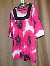 Canto Fashion BNWT Plus Size 18-22 Black & Pink Square Neck Top with 3/4 Sleeves