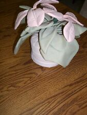 "Handmade Pink African Violet Cloth Flower Arrangement/9.5"" Tall"
