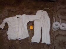 4pc Macho Martial Arts Childrens Karate Uniform Sz 0/140 Jacket Pants 2 Belts