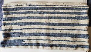 "John Robshaw Blue Nautical Striped Cotton 17"" x 32"" Pillow Cover Coastal Boho"