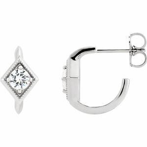 White Sapphire Geometric J-Hoop Earrings In Platinum