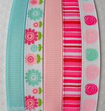 "5 Yards  FLOWERS pink aqua stripe Grosgrain Ribbon 3/8"" 9mm Cake Card Craft Bow"