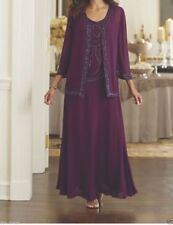 Tea Length Purple Mother of the Bride Groom Dress Plus Size Jacket Formal Gown