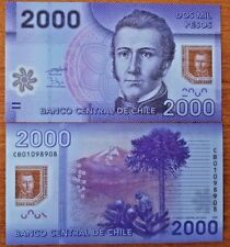 C) CHILE BANKNOTES 2000 PESOS UNC POLYMER PAPER ND 2009