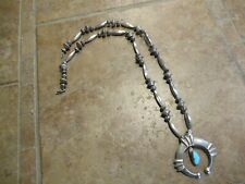 "29""  OLD PAWN Navajo Sterling Silver Fluted / Melon Bead Turquoise NAJA Necklace"