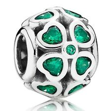 Authentic Pandora Charm Sterling Silver 791496CZN Green Lucky Clover Charm