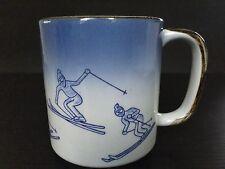 Handcrafted Blue Stoneware Ceramic Snow Skiing Mug Ski Winter Sports