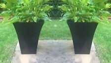 2x Medium Black Milano Tall Planter Square Plastic Garden Flower Plant Herb Pots
