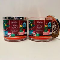 2 Bath & Body Works Winter Candy Apple 3 Wick Scented Candles 14.5 oz New
