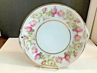 Vintage PK Silesia Porcelain Decorative Plate Pink White Roses White Gold Beaded