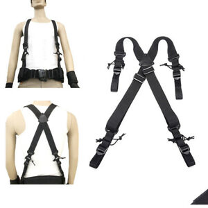 Tactical Belt Suspenders Adjustable Duty Belt X-type Suspenders Belt Strape