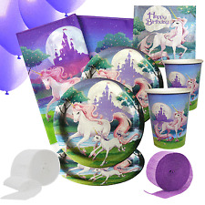 Fantasy Unicorn Party Kit 5 For 8 to 16 Guests | Party Tableware And Decorations