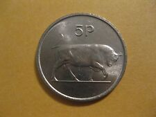 1975 76 Ireland Coin  5  pence  BULL  super neat animal coin  nice UNC coin