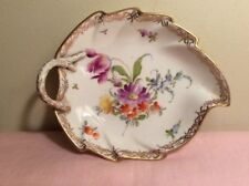 Antique German Meissen Porcelain Leaf Shape Plate Bowl Hand Painted Marked