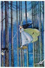 Postcard: Vintage Repro - Witch on Broomstick, Blue Forest, Full Moon, Owl, Cat