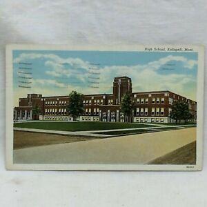 Vintage Postcard Kalispell Montana High School Scene 1940