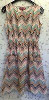 UTTAM LONDON PATTERENED DRESS WITH POCKET UK 12