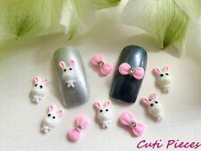 """10pcs x """"Small Easter White Bunny Pink Rhinestone Bows"""" 3D Nail Art Kawaii Craft"""