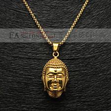 "Stainless Steel 18K Gold Plating Bulk Fashion Jewelry Buddha Pendant 24"" Chain"