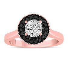 White And Enhanced Black Diamond Engagement Ring 14K Rose Gold 0.90 ct Halo Pave