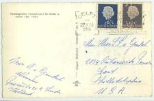 1958 Netherlands 20c and 25c - both perfin K - postcard cover