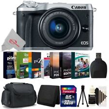 Canon EOS M6 Mirrorless Digital Camera Silver with 15-45mm 32GB Accessory Kit