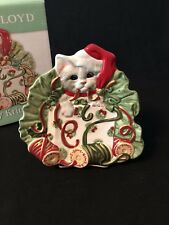 Fitz and Floyd Kitty Kringle Christmas Plate Original Box Canape Dish Cat