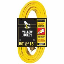 Coleman Cable Yellow Jacket 2884 50' 12/3 Heavy-Duty 15 Amp 12 Ga Extension Cord