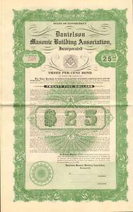 Danielson Masonic Building Assoc. Killingly Windham Connecticut bond certificate