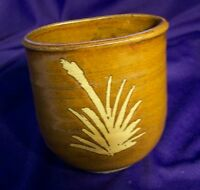 BROWN GLAZED POTTERY CONTAINER