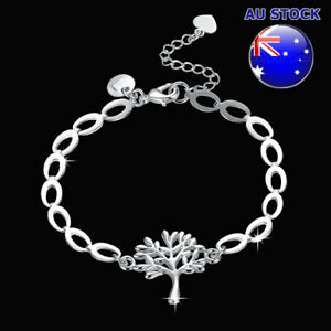 Wholesale 925 Sterling Silver Filled Filigree Tree of Life Charm Bracelet Chain