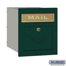Salsbury Cast Aluminum Column Mailbox - Locking - Eagle Door - Green-MAILBOX NEW