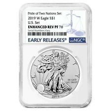 2019 W 1 oz Enhanced Reverse Proof Silver Eagle NGC PF 70 Pride of Two Nations