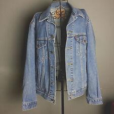 Levis Denim mens distressed light wash jean jacket medium button unisex