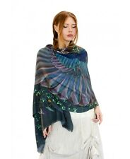Onyx Dark wings Designer Shawl, Scarf, Hand Painted Wrap 100% Cotton